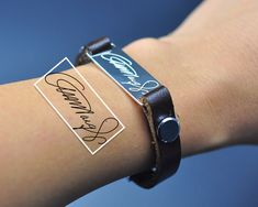 Custom Signature Bracelet Sterling Bar by weimeiOrnaments on Etsy