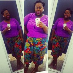 quayla_venezuela's photo on Instagram. Thrifted outfit. Printed gauchos. Lane Bryant top. Plus size. Natural hair. Purple. Floral