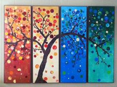 Gorgeous large 4 panel painting.  Original by PickleBerryPaints.
