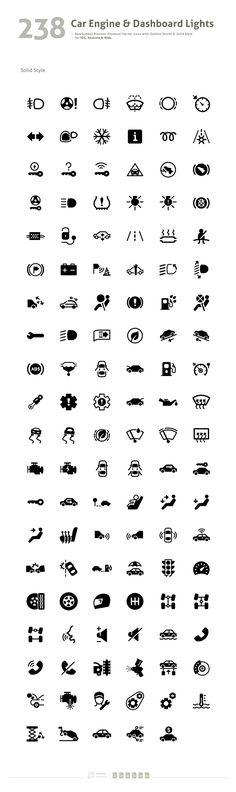 Car Engine Dashboard Lights Symbol Icons 2 Icon Set
