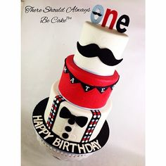 Mustache Little Man Birthday Cake