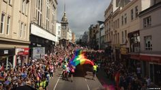 The parade going through the streets of Brighton