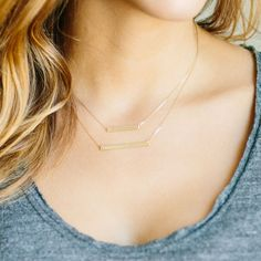 Thin Bar Necklace // 1 and inch long // by TrulyKustom on Etsy Bar Necklace, Arrow Necklace, Vertical Bar, Etsy Shop, Sterling Silver, Chain, Diamond, My Style