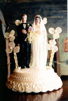 A Classic Wedding cake topper figure with miniature fimo Groom's boutonaire, Bride's bouquet, vintage lace veil etc.