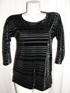 Chicos Black Velvet Burnout Stripe 3/4 Slv Lined Tunic Top Blouse Size 0 S/4/6 #Chicos #Blouse #CareerCasual