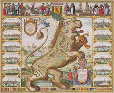 Claes Janszoon Visscher Leo Belgicus, The symbol of the Dutch Roaring Lion as still used in the football, drawn on the shape of the 17 provinces. Parts of what is now Belgium were part of The Republic of The Netherlands. Early Modern Period, Roaring Lion, New Amsterdam, Country Maps, Atlas, Old Maps, Historical Maps, Map Art, 17th Century