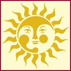 Sun 3 stencil, sun stencils, wall stencils, DIY stencils, star stencil