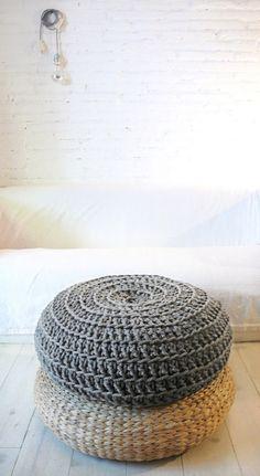Giant Floor Cushion Crochet - Thick Cotton -  Medium Grey