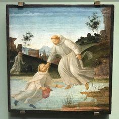 5 octobre - saint Placide.  Saint Maur sauve saint Placide, Bartolomeo di Giovanni, c. 1485. Galerie des Offices, Florence, Toscane.