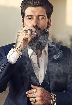 Alpha Cigar Smoking Men | tattooed man in suit | Tumblr