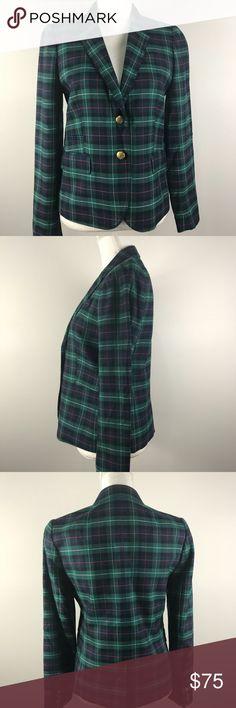 J.crew green/navy plaid blazer sz6 Green, navy, and red plaid two button blazer size 6. No damage. Worn 1-2 times. J. Crew Jackets & Coats Blazers