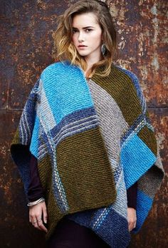 Free Knitting Pattern Geometric Weave Poncho - This garter stitch color block poncho is a quick knit in super bulky yarn and was designed by Sarah Hazell for Rowan,