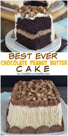 The best chocolate peanut butter cake is covered in peanut butter frosting and peanut butter cups is seriously the best I have ever had!