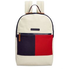 Tommy Hilfiger Flag Colorblock Backpack found on Polyvore featuring bags, backpacks, backpack, parachute, white laptop bag, laptop backpack, day pack backpack, laptop rucksack and pocket backpack