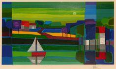 In rustig water - Kunst. Oil Pastel Landscape, Landscape Art, Landscape Paintings, Large Artwork, Dutch Artists, Naive Art, Art Abstrait, City Art, Art History