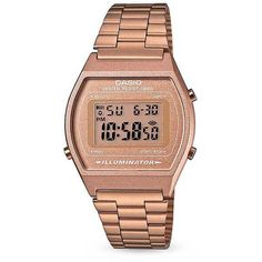 Casio Vintage Collection Digital Watch - Copper/Gold ($65) ❤ liked on Polyvore featuring jewelry, watches, copper wrist watch, gold jewellery, casio, gold strap watches and gold wristwatches