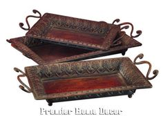 Tuscan St/3 Rustic Trays W/ Handles Embossed Design