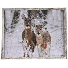 Een fraaie schilderij met led verlichting en een afbeelding van Herten in de sneeuw #kerstdecoratie #wanddecoratie #muurdecoratie
