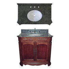 DAVIDSON WOODCRAFTERS�Savannah 36-in x 21-in Brown Single Sink Bathroom Vanity with Natural Marble Top