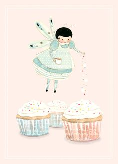 Lovely illustration of a cupcake fairy sprinkling cupcakes!