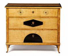 BIEDERMEIER BIRCH AND EBONISED CHEST OF DRAWERS CI - by Lyon & Turnbull