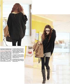 Hot selling Women Long Sleeve Oversized Batwing Sweater Loose Tops Jumper Black Coat free shipping-in Pullovers from Apparel & Accessories on Aliexpress.com | Alibaba Group