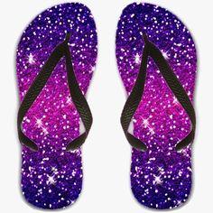 Flip Flops UK sizes 4 / 5 / 6 - Glitters Sparkles Purple Pink - by Tees2go