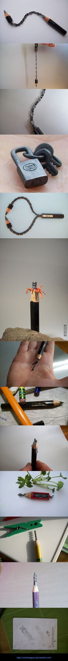 Amazingly intricate pencil lead carving's by Cerkahegyzo