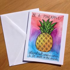 Encouragement Card Be a Pineapple by PaisleyandHazel on Etsy