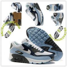 Mode | Nike Chaussure Sport Air Max 90 Homme Blanc Foncé/Gris/Vert Fluorescent