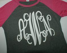 Personalized Raglan Shirt Monogrammed Shirt by TheFlowerFairyShop