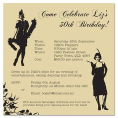 """Invite all your lovely Flappers to your upcoming birthday with our Gatsby inspired """"Flapper"""" birthday invite. ONLY $1.00 EACH. Personalise it today at www.paperdivas.com.au. Flapper Birthday Invitations - Invitations - THEMED - Birthday"""