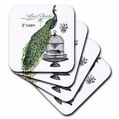 3dRose cst_178821_3 Paris Peacock on Bird Cage-Ceramic Tile Coasters, Set of 4 3dRose http://www.amazon.com/dp/B00J82519Q/ref=cm_sw_r_pi_dp_l5taxb1N1YS7Z