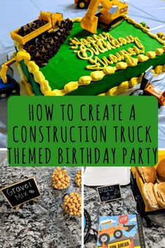 "Here's the construction truck themed birthday party for my three year old son.  Complete with a build your own burger bar, construction cake, and ""grave"" trail mix.  #birthdaypartideas #boybirthday #thirdbirthday #constructionparty"