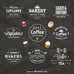 Food Business Vector Badges by Freepik Vector Food, Ideas Para Logos, Bakery Muffins, Coffee Shop Logo, Photo Food, Bakery Logo Design, Food Truck Design, Tea Design, Cupcake Bakery
