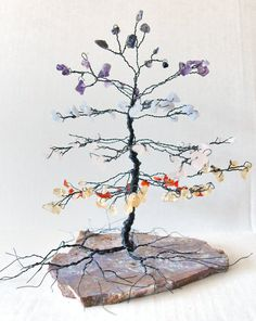 CHAKRA Pine Gem Tree / Iolite,Amethyst,Blue Lace Agate,Rose Quartz,Citrine,Carnelian Gems / Decor, Gifts, Chakra Healing