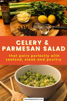 Simple to make celery and parmesan salad to add color and fresh flavor to your main dish, whether it's seafood, steak or poultry. Plank Salmon, Celery Salad, Barbecue Side Dishes, Bbq King, How To Make Salad, Easy Salads, Shredded Chicken, Coleslaw, Parmesan