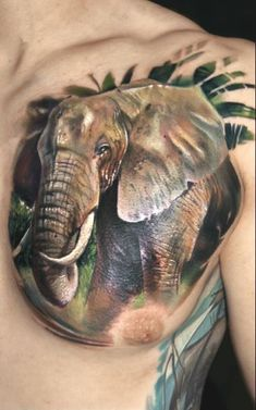 Elephant Head 3D Tattoo On Men Left Chest