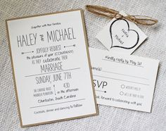 Whimsical Wedding Invitation Rustic Chic Wedding by LoveofCreating