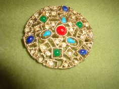 Vintage Emmons Signed Pin Brooch Rhinestone Gold Tone Jewelry Retro Mid Century #Emmons