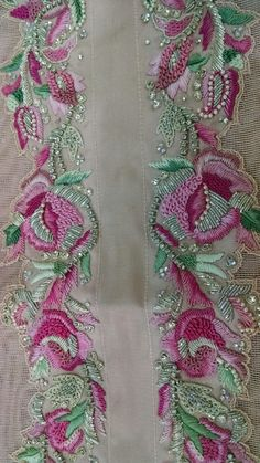 Zardozi work Zardozi Embroidery, Pearl Embroidery, Tambour Embroidery, Hand Work Embroidery, Embroidery On Clothes, Couture Embroidery, Indian Embroidery, Brazilian Embroidery, Silk Ribbon Embroidery