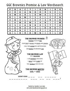 Girl Scout Promise and Law brownie | GGC Brownies Promise  Law Wordsearch owl-and-toadstool.blogspot.ca