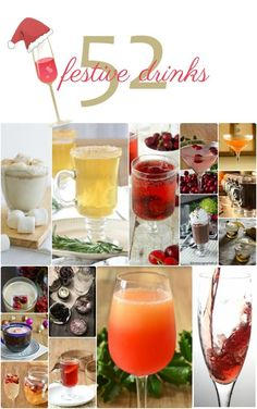52 Holiday Cocktails and Other Festive Drinks. Imrpess your friends with your varied cocktail menu! #cocktails #holidaycheer #christmas #newyears