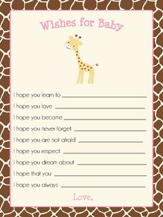 Giraffe Baby Shower Invitation with Pink for by TheInviteLadyShop