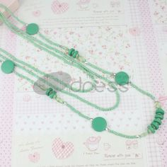 three layers long necklace of green Seed Pearl   Acrylic   wood chips