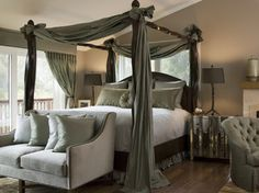 Hillsborough Transitional - transitional - bedroom - san francisco - Diedre Shaw Interiors-Benjamin Moore Muslin, it looks lighter in person