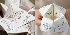 O has made at least 30 cootie catchers this weekend! Love someone's idea of using these for tablesetting.