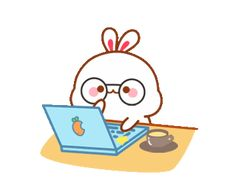 Lovely Tuji Cute Bunny Cartoon, Cute Cartoon Pictures, Funny Bunnies, Cute Pictures, Anime Kitten, Kitten Gif, Gif Kawaii, Kawaii Anime, Cute Love Gif