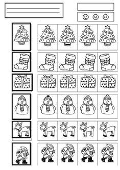 Najdi v řádce úplně stejný obrázek, jako je na předloze.  Trochu náročnější varianta pracovních listů, která zároveň s jinými aspekty zrakového vnímání dobře procvičuje i zrakovou pozornost.
