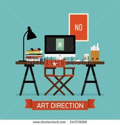 Vector modern flat design creative illustration on art direction | Art director workspace interior background featuring work table, desktop computer, stack of magazines and books, director's chair - stock vector